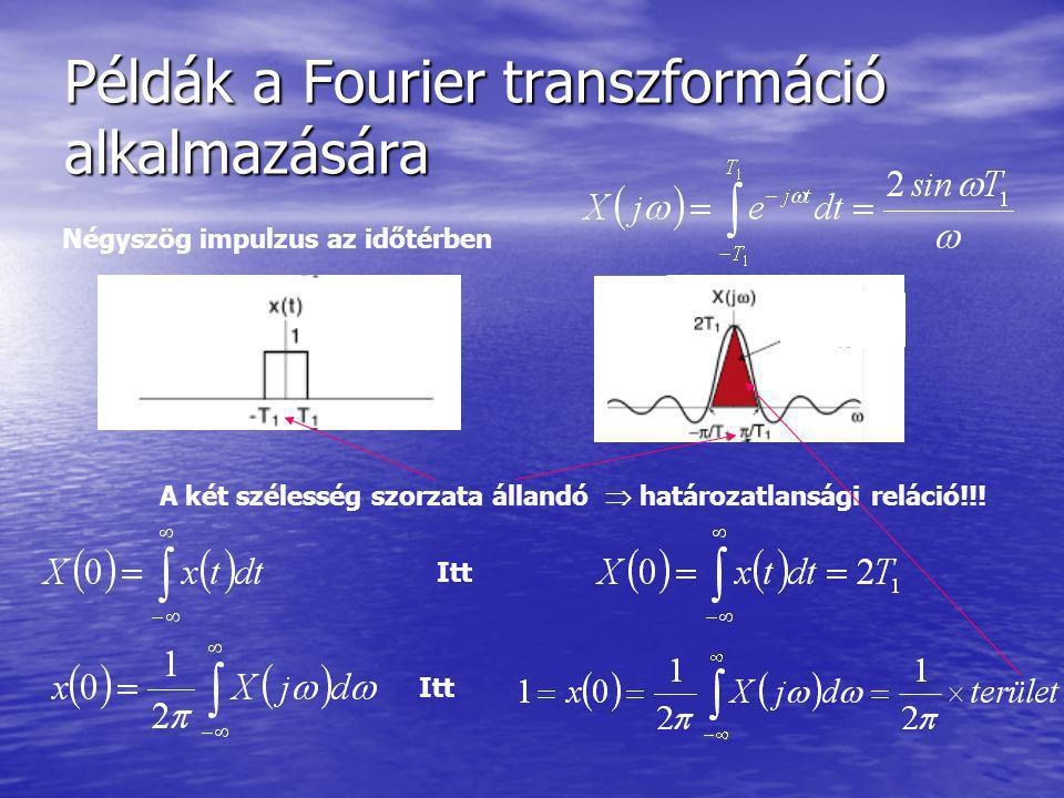 Példák a Fourier transzformáció alkalmazására Négyszög impulzus az időtérben A két szélesség szorzata állandó  határozatlansági reláció!!! Itt