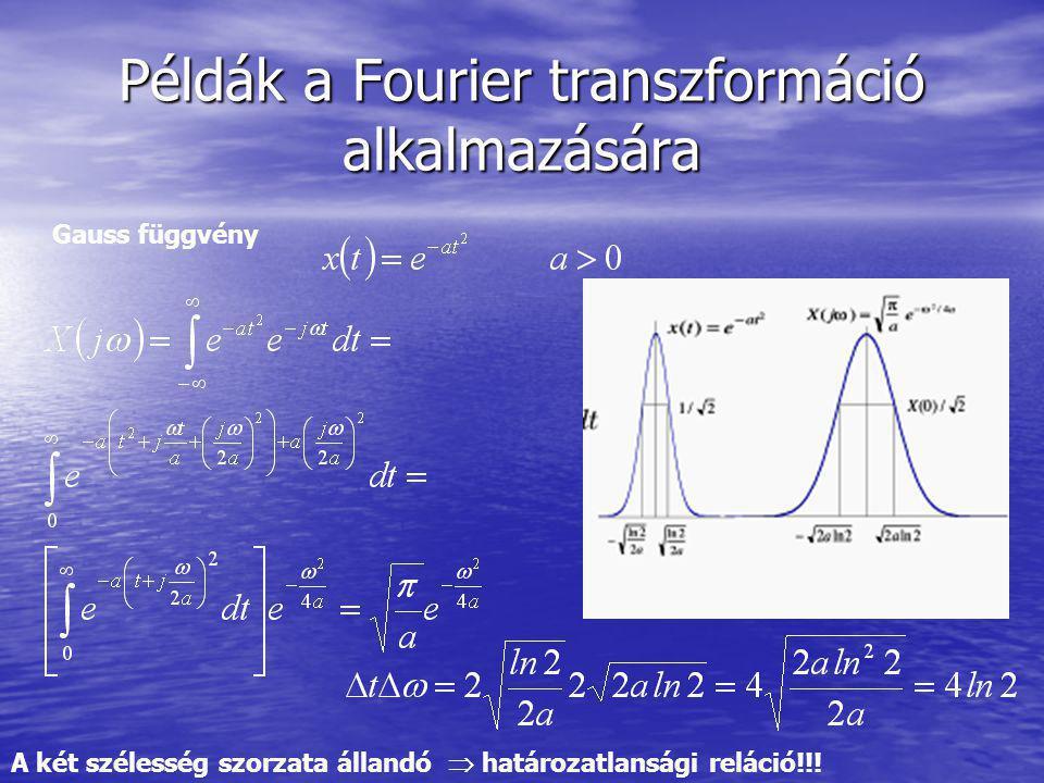 Példák a Fourier transzformáció alkalmazására Gauss függvény A két szélesség szorzata állandó  határozatlansági reláció!!!