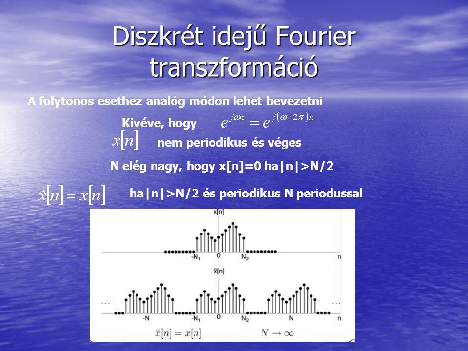 Diszkrét idejű Fourier transzformáció A folytonos esethez analóg módon lehet bevezetni Kivéve, hogy nem periodikus és véges N elég nagy, hogy x[n]=0 h