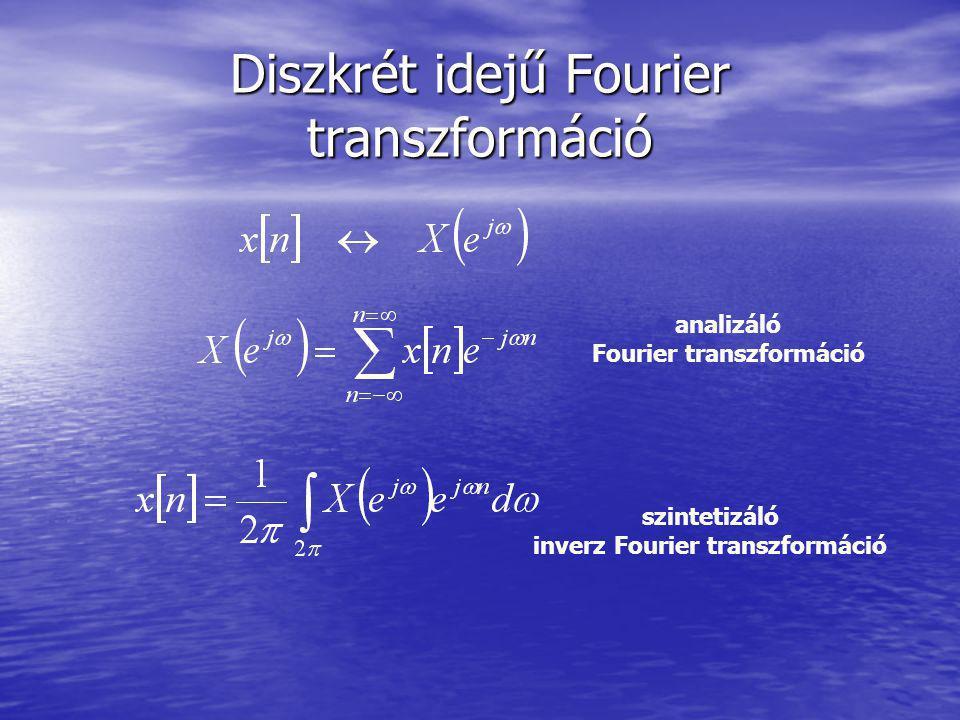 Diszkrét idejű Fourier transzformáció szintetizáló inverz Fourier transzformáció analizáló Fourier transzformáció