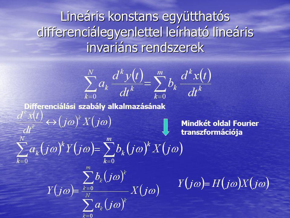 Lineáris konstans együtthatós differenciálegyenlettel leírható lineáris invariáns rendszerek Differenciálási szabály alkalmazásának Mindkét oldal Four