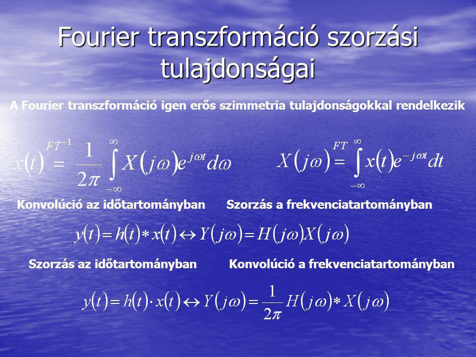 Fourier transzformáció szorzási tulajdonságai A Fourier transzformáció igen erős szimmetria tulajdonságokkal rendelkezik Konvolúció az időtartományban