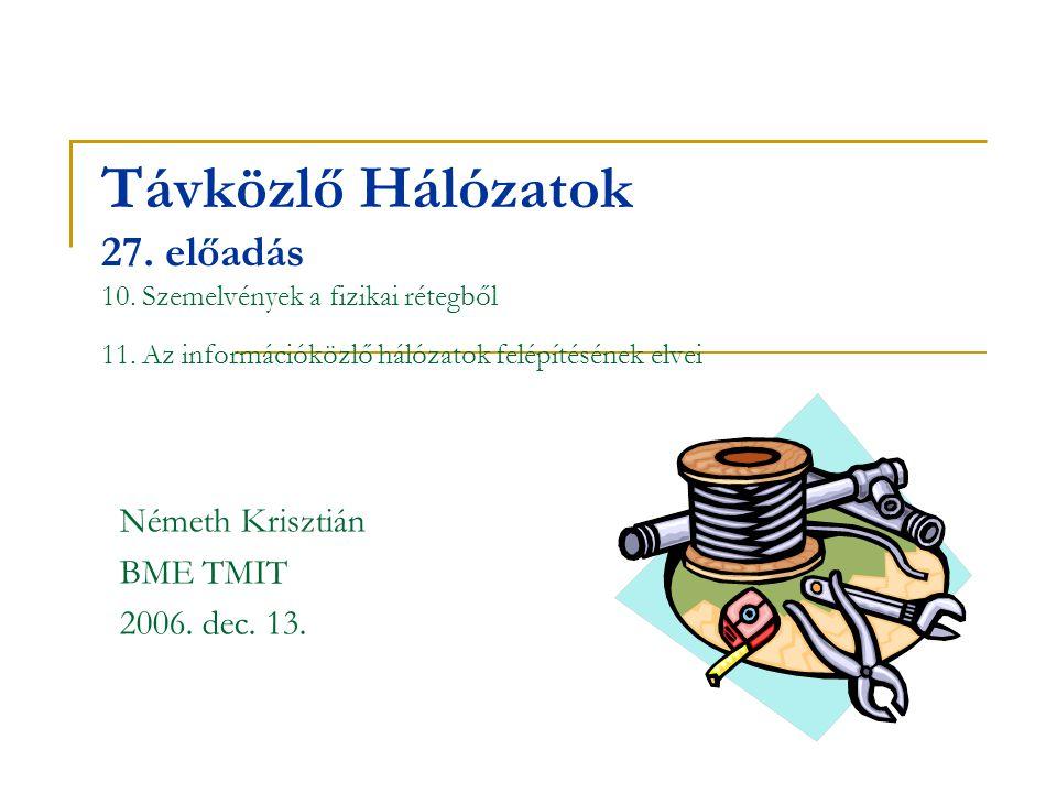 Távközlő Hálózatok 27. előadás 10. Szemelvények a fizikai rétegből 11. Az információközlő hálózatok felépítésének elvei Németh Krisztián BME TMIT 2006