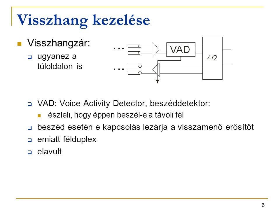 6 Visszhang kezelése Visszhangzár:  ugyanez a túloldalon is  VAD: Voice Activity Detector, beszéddetektor: észleli, hogy éppen beszél-e a távoli fél  beszéd esetén e kapcsolás lezárja a visszamenő erősítőt  emiatt félduplex  elavult