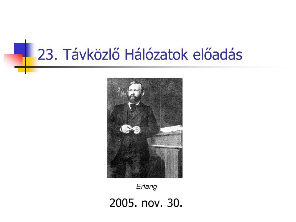 23. Távközlő Hálózatok előadás 2005. nov. 30. Erlang