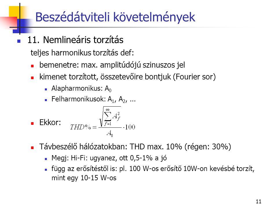 11 11. Nemlineáris torzítás teljes harmonikus torzítás def: bemenetre: max.