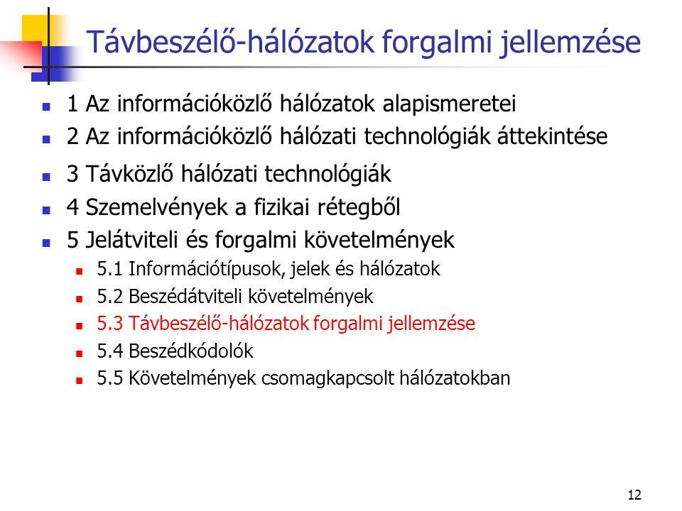 12 1 Az információközlő hálózatok alapismeretei 2 Az információközlő hálózati technológiák áttekintése 3 Távközlő hálózati technológiák 4 Szemelvények a fizikai rétegből 5 Jelátviteli és forgalmi követelmények 5.1 Információtípusok, jelek és hálózatok 5.2 Beszédátviteli követelmények 5.3 Távbeszélő-hálózatok forgalmi jellemzése 5.4 Beszédkódolók 5.5 Követelmények csomagkapcsolt hálózatokban Távbeszélő-hálózatok forgalmi jellemzése