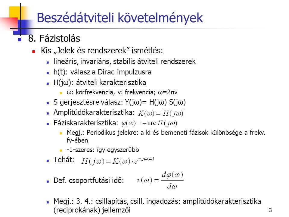 """3 8. Fázistolás Kis """"Jelek és rendszerek"""" ismétlés: lineáris, invariáns, stabilis átviteli rendszerek h(t): válasz a Dirac-impulzusra H(jω): átviteli"""