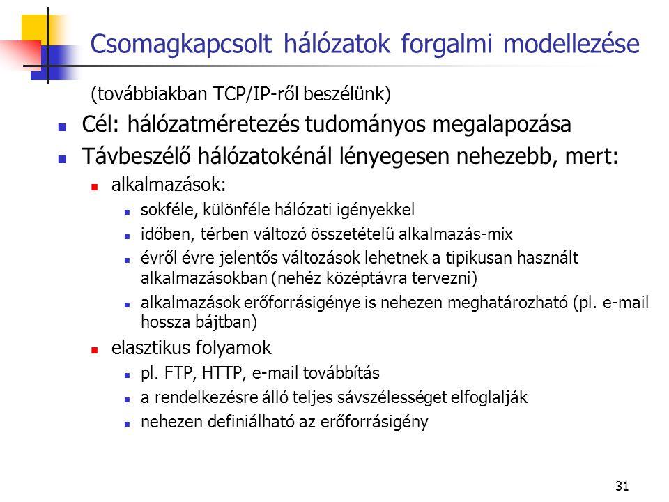 31 Csomagkapcsolt hálózatok forgalmi modellezése (továbbiakban TCP/IP-ről beszélünk) Cél: hálózatméretezés tudományos megalapozása Távbeszélő hálózatokénál lényegesen nehezebb, mert: alkalmazások: sokféle, különféle hálózati igényekkel időben, térben változó összetételű alkalmazás-mix évről évre jelentős változások lehetnek a tipikusan használt alkalmazásokban (nehéz középtávra tervezni) alkalmazások erőforrásigénye is nehezen meghatározható (pl.