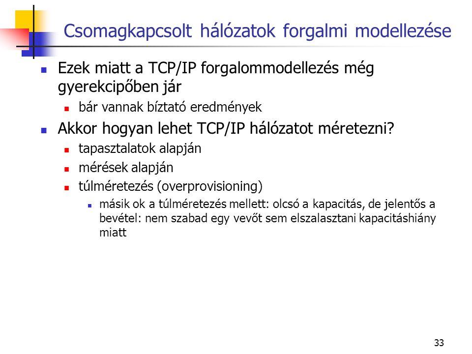 33 Csomagkapcsolt hálózatok forgalmi modellezése Ezek miatt a TCP/IP forgalommodellezés még gyerekcipőben jár bár vannak bíztató eredmények Akkor hogyan lehet TCP/IP hálózatot méretezni.