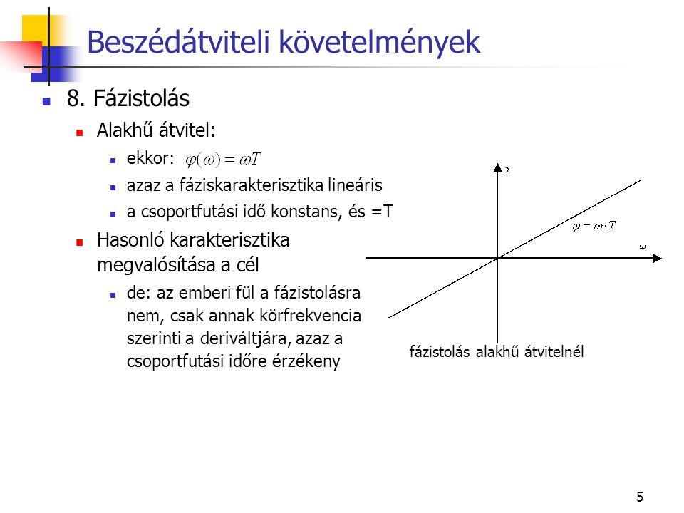 5 8. Fázistolás Alakhű átvitel: ekkor: azaz a fáziskarakterisztika lineáris a csoportfutási idő konstans, és =T Hasonló karakterisztika megvalósítása