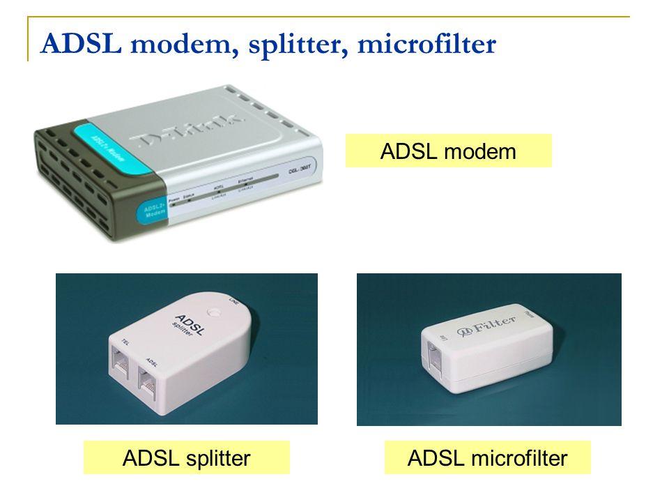 ADSL modem, splitter, microfilter ADSL microfilterADSL splitter ADSL modem