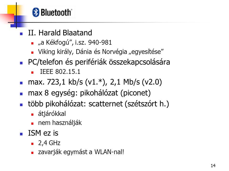 """14 II. Harald Blaatand """"a Kékfogú"""", i.sz. 940-981 Viking király, Dánia és Norvégia """"egyesítése"""" PC/telefon és perifériák összekapcsolására IEEE 802.15"""