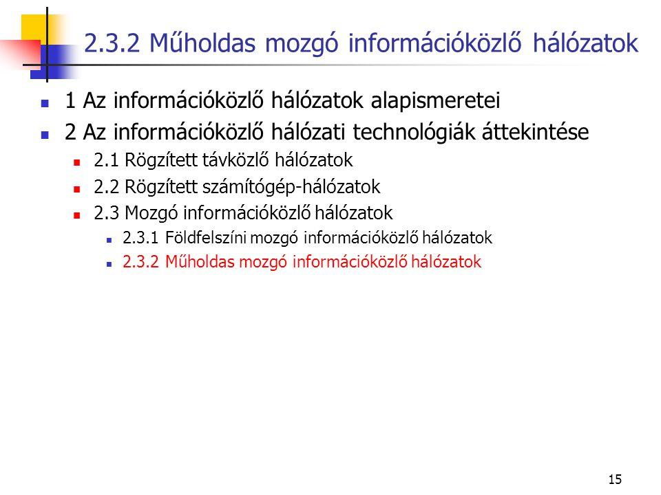 15 1 Az információközlő hálózatok alapismeretei 2 Az információközlő hálózati technológiák áttekintése 2.1 Rögzített távközlő hálózatok 2.2 Rögzített