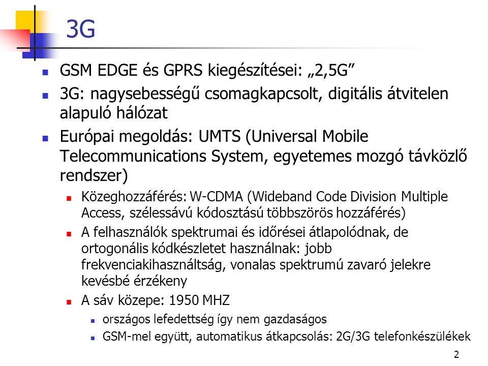 """2 3G GSM EDGE és GPRS kiegészítései: """"2,5G"""" 3G: nagysebességű csomagkapcsolt, digitális átvitelen alapuló hálózat Európai megoldás: UMTS (Universal Mo"""