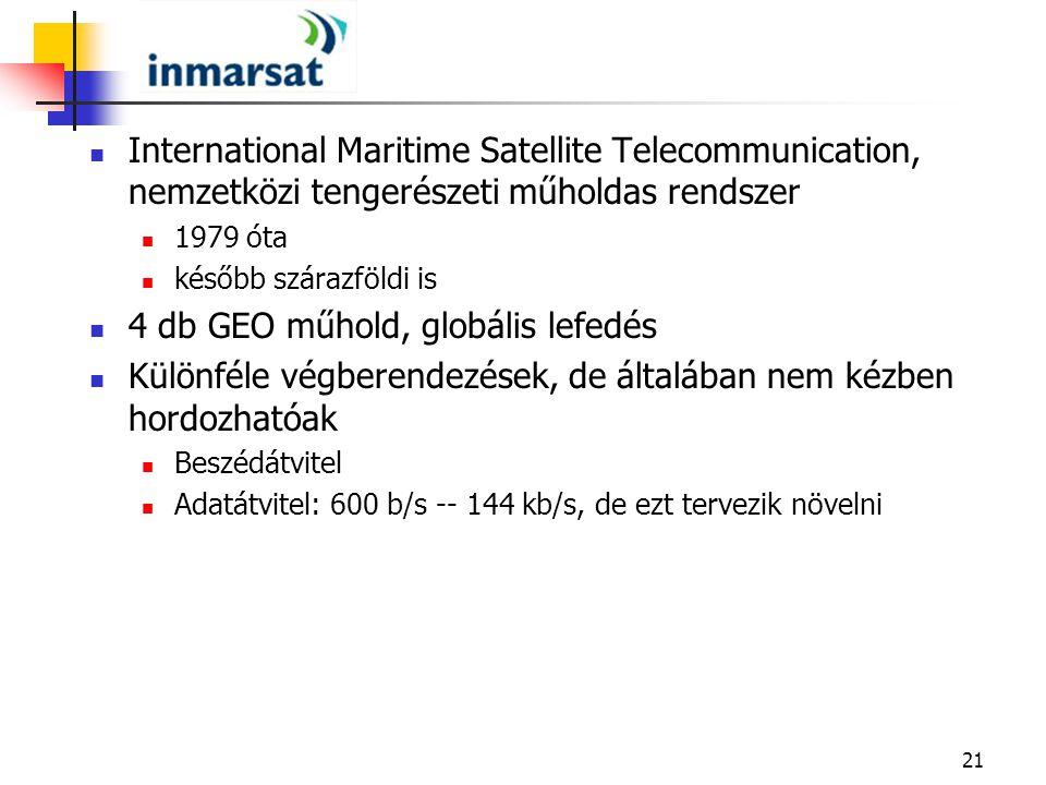 21 International Maritime Satellite Telecommunication, nemzetközi tengerészeti műholdas rendszer 1979 óta később szárazföldi is 4 db GEO műhold, globá