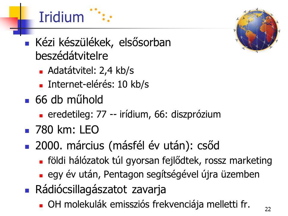 22 Iridium Kézi készülékek, elsősorban beszédátvitelre Adatátvitel: 2,4 kb/s Internet-elérés: 10 kb/s 66 db műhold eredetileg: 77 -- irídium, 66: disz