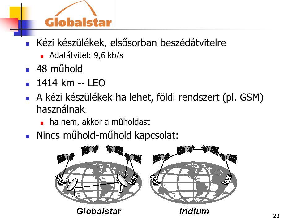 23 Kézi készülékek, elsősorban beszédátvitelre Adatátvitel: 9,6 kb/s 48 műhold 1414 km -- LEO A kézi készülékek ha lehet, földi rendszert (pl. GSM) ha
