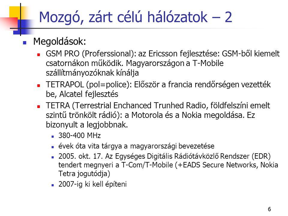 6 Mozgó, zárt célú hálózatok – 2 Megoldások: GSM PRO (Proferssional): az Ericsson fejlesztése: GSM-ből kiemelt csatornákon működik. Magyarországon a T