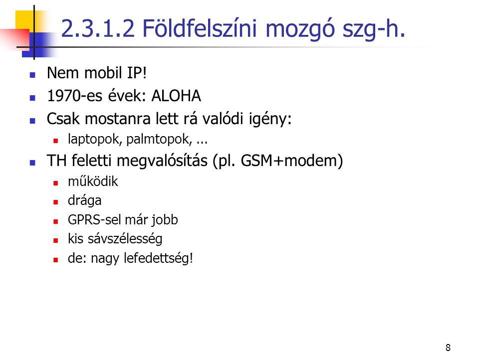 8 Nem mobil IP! 1970-es évek: ALOHA Csak mostanra lett rá valódi igény: laptopok, palmtopok,... TH feletti megvalósítás (pl. GSM+modem) működik drága