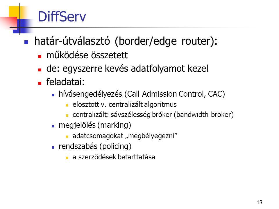 13 DiffServ határ-útválasztó (border/edge router): működése összetett de: egyszerre kevés adatfolyamot kezel feladatai: hívásengedélyezés (Call Admiss