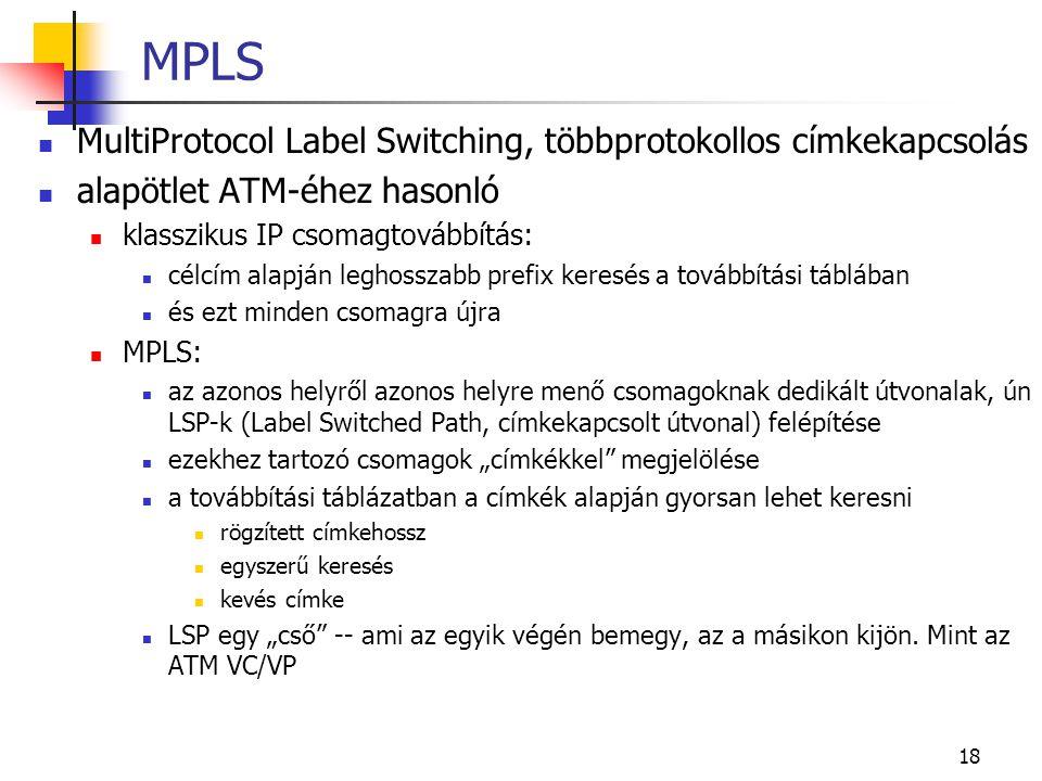 """18 MPLS MultiProtocol Label Switching, többprotokollos címkekapcsolás alapötlet ATM-éhez hasonló klasszikus IP csomagtovábbítás: célcím alapján leghosszabb prefix keresés a továbbítási táblában és ezt minden csomagra újra MPLS: az azonos helyről azonos helyre menő csomagoknak dedikált útvonalak, ún LSP-k (Label Switched Path, címkekapcsolt útvonal) felépítése ezekhez tartozó csomagok """"címkékkel megjelölése a továbbítási táblázatban a címkék alapján gyorsan lehet keresni rögzített címkehossz egyszerű keresés kevés címke LSP egy """"cső -- ami az egyik végén bemegy, az a másikon kijön."""