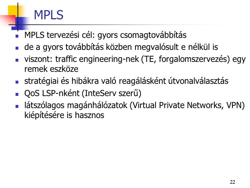 22 MPLS MPLS tervezési cél: gyors csomagtovábbítás de a gyors továbbítás közben megvalósult e nélkül is viszont: traffic engineering-nek (TE, forgalomszervezés) egy remek eszköze stratégiai és hibákra való reagálásként útvonalválasztás QoS LSP-nként (InteServ szerű) látszólagos magánhálózatok (Virtual Private Networks, VPN) kiépítésére is hasznos