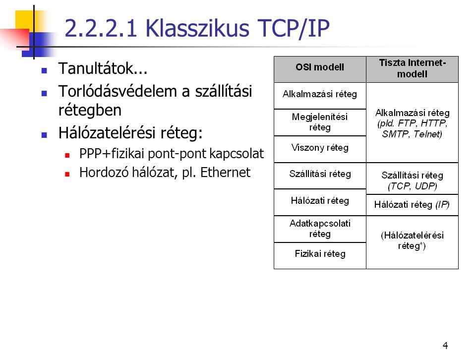 """5 2.2.2.1 Klasszikus TCP/IP """"buta hálózat, okos végberendezés végberendezés amúgy is okos, drága (PC) többé-kevésbé kivétel pl.: mobiltelefon (de ezek is gyorsan fejlődnek) így gyorsabb lehet a működés 10 Gb/s IP továbbítás manapság ez csak egyszerű csomópontokkal lehetséges állapotot a végpont tárolja hálózati csomópont meghibásodása esetén praktikus TH-ban fordítva!"""