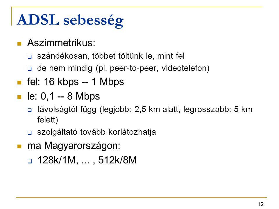 12 ADSL sebesség Aszimmetrikus:  szándékosan, többet töltünk le, mint fel  de nem mindig (pl. peer-to-peer, videotelefon) fel: 16 kbps -- 1 Mbps le: