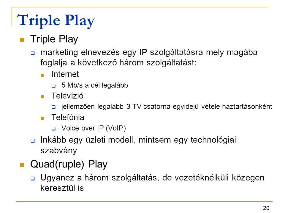 20 Triple Play  marketing elnevezés egy IP szolgáltatásra mely magába foglalja a következő három szolgáltatást: Internet  5 Mb/s a cél legalább Tele