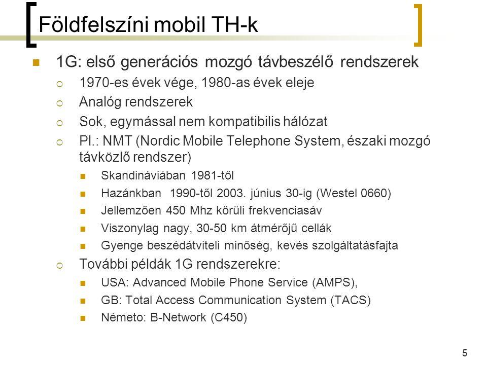 6 Földfelszíni mobil TH-k 2G: második generációs mozgó távb.