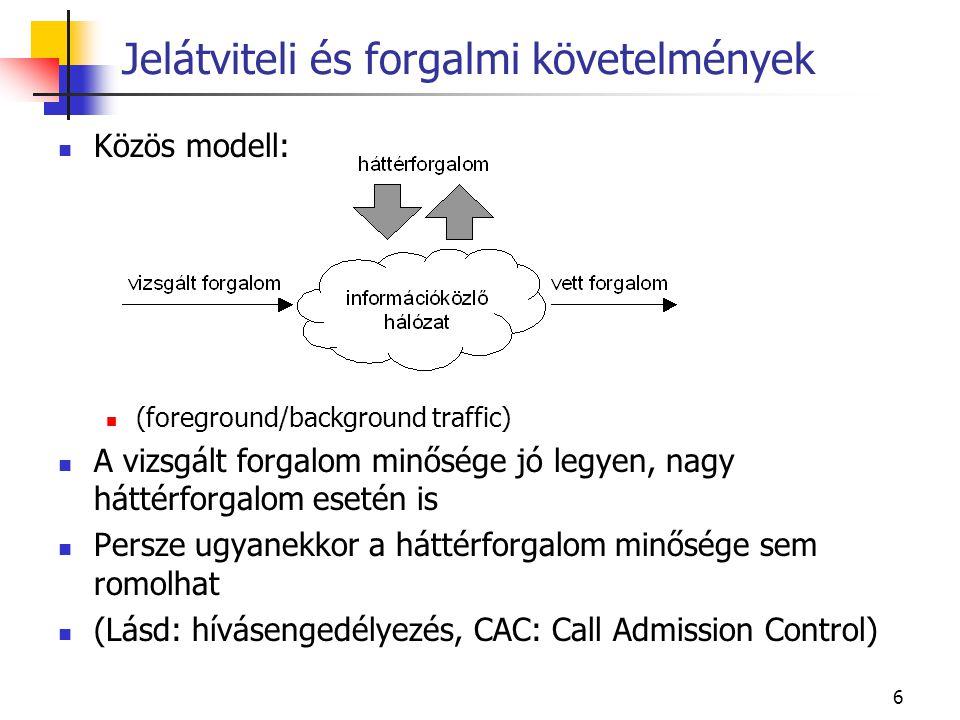 6 Közös modell: (foreground/background traffic) A vizsgált forgalom minősége jó legyen, nagy háttérforgalom esetén is Persze ugyanekkor a háttérforgalom minősége sem romolhat (Lásd: hívásengedélyezés, CAC: Call Admission Control) Jelátviteli és forgalmi követelmények