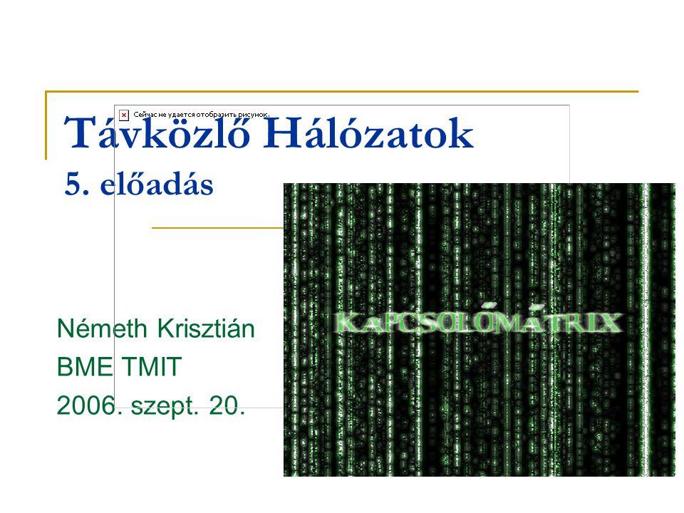 Távközlő Hálózatok 5. előadás Németh Krisztián BME TMIT 2006. szept. 20.