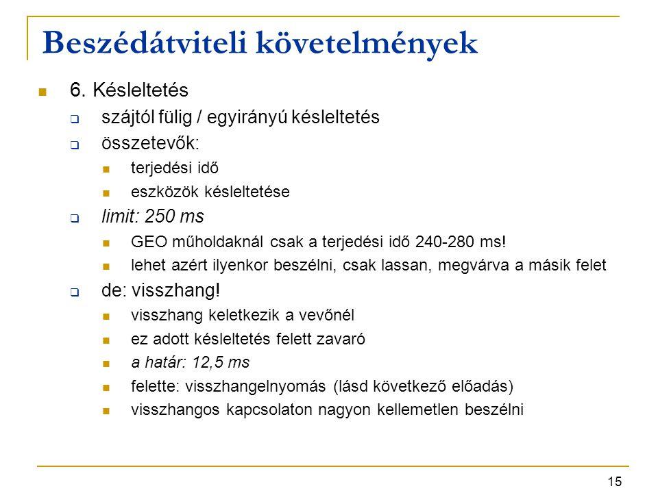 15 6. Késleltetés  szájtól fülig / egyirányú késleltetés  összetevők: terjedési idő eszközök késleltetése  limit: 250 ms GEO műholdaknál csak a ter