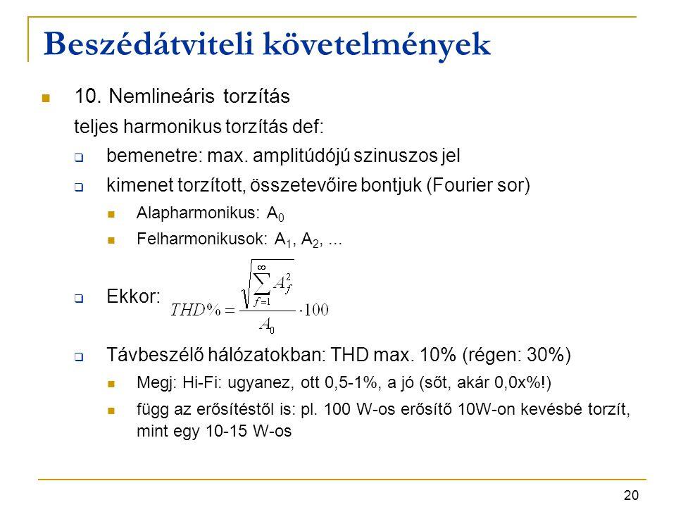 20 10. Nemlineáris torzítás teljes harmonikus torzítás def:  bemenetre: max. amplitúdójú szinuszos jel  kimenet torzított, összetevőire bontjuk (Fou