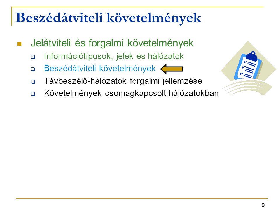 9 Jelátviteli és forgalmi követelmények  Információtípusok, jelek és hálózatok  Beszédátviteli követelmények  Távbeszélő-hálózatok forgalmi jellemzése  Követelmények csomagkapcsolt hálózatokban Beszédátviteli követelmények