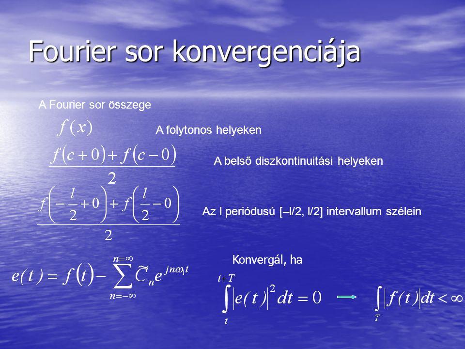 Fourier sor konvergenciája A Fourier sor összege A folytonos helyeken A belső diszkontinuitási helyeken Az l periódusú [–l/2, l/2] intervallum szélein Konvergál, ha