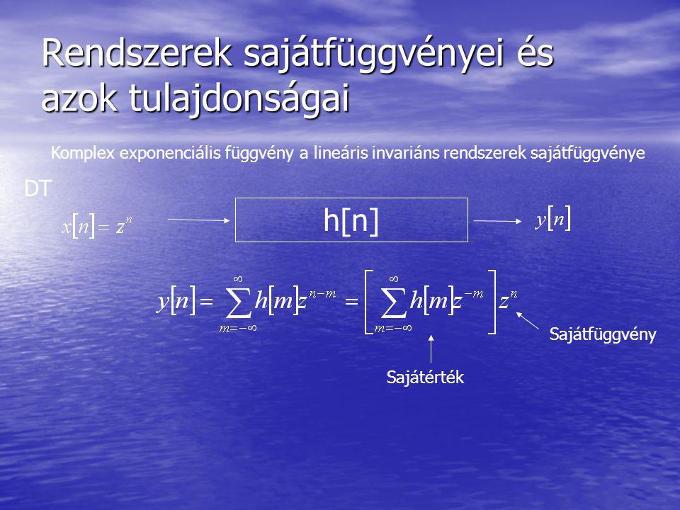 Rendszerek sajátfüggvényei és azok tulajdonságai Komplex exponenciális függvény a lineáris invariáns rendszerek sajátfüggvénye h[n] Sajátérték Sajátfüggvény DT