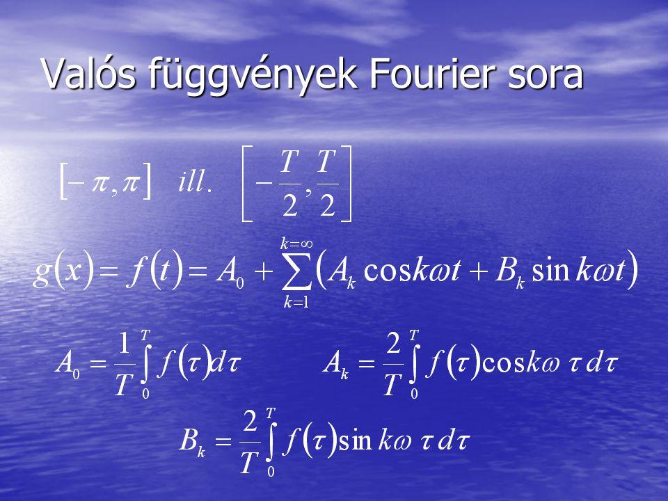 Valós függvények Fourier sora
