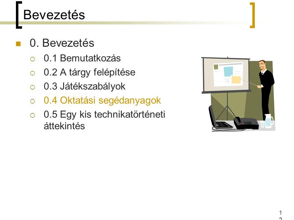 12 Bevezetés 0. Bevezetés  0.1 Bemutatkozás  0.2 A tárgy felépítése  0.3 Játékszabályok  0.4 Oktatási segédanyagok  0.5 Egy kis technikatörténeti