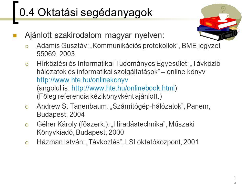 """14 0.4 Oktatási segédanyagok Ajánlott szakirodalom magyar nyelven:  Adamis Gusztáv: """"Kommunikációs protokollok"""", BME jegyzet 55069, 2003  Hírközlési"""