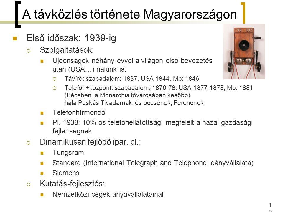 19 A távközlés története Magyarországon Első időszak: 1939-ig  Szolgáltatások: Újdonságok néhány évvel a világon első bevezetés után (USA…) nálunk is