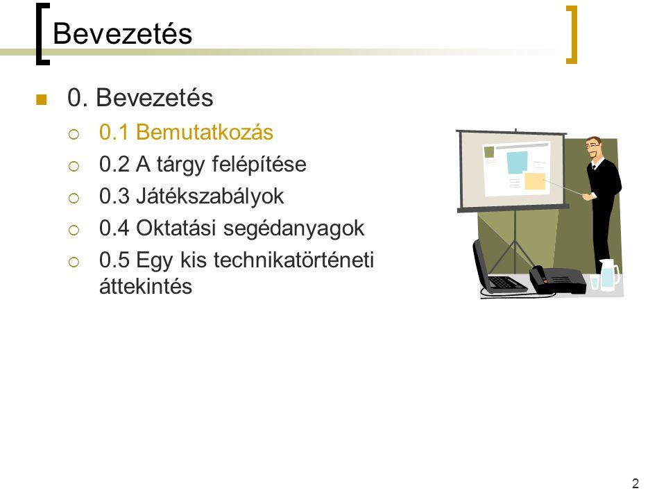 13 0.4 Oktatási segédanyagok Legfontosabb információforrás az előadásjegyzet.