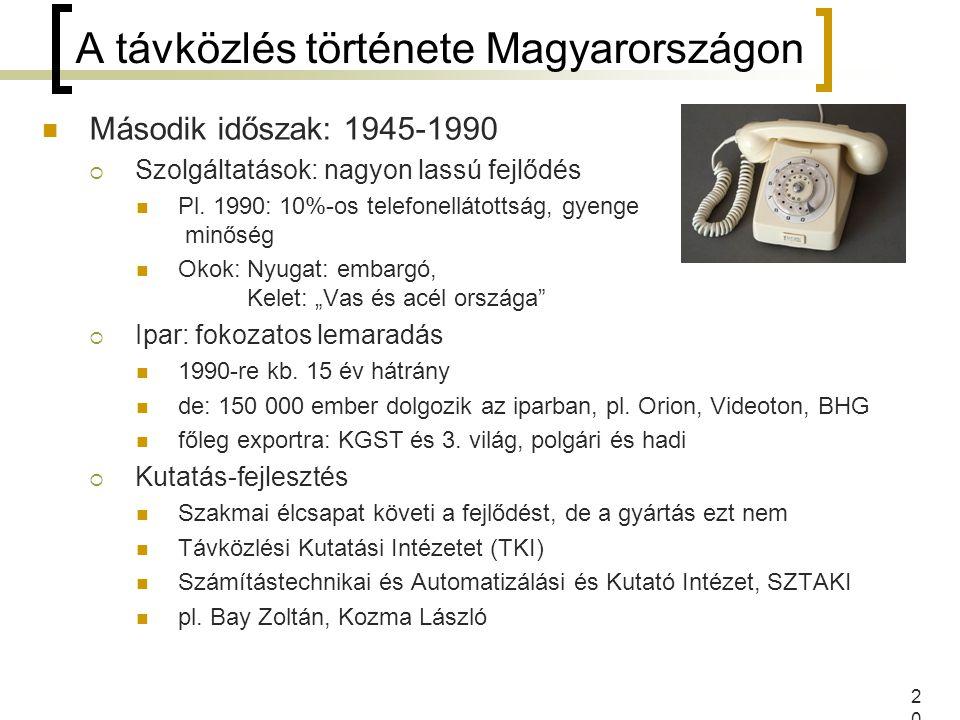 20 A távközlés története Magyarországon Második időszak: 1945-1990  Szolgáltatások: nagyon lassú fejlődés Pl. 1990: 10%-os telefonellátottság, gyenge