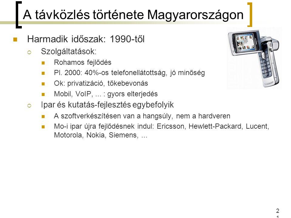 21 A távközlés története Magyarországon Harmadik időszak: 1990-től  Szolgáltatások: Rohamos fejlődés Pl. 2000: 40%-os telefonellátottság, jó minőség