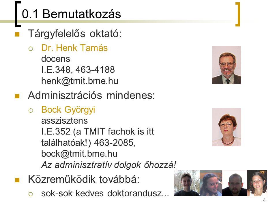 4 0.1 Bemutatkozás Tárgyfelelős oktató:  Dr. Henk Tamás docens I.E.348, 463-4188 henk@tmit.bme.hu Adminisztrációs mindenes:  Bock Györgyi assziszten