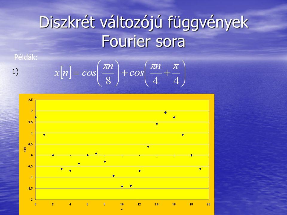 Diszkrét változójú függvények Fourier sora Példák: 1)