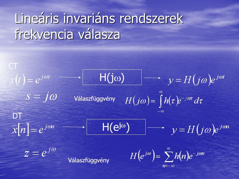 Lineáris invariáns rendszerek frekvencia válasza H(j  ) CT H(e j  ) DT Válaszfüggvény