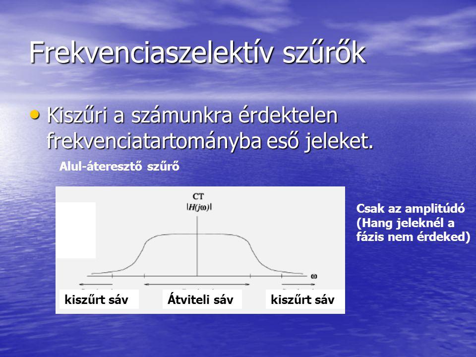 Frekvenciaszelektív szűrők Kiszűri a számunkra érdektelen frekvenciatartományba eső jeleket. Kiszűri a számunkra érdektelen frekvenciatartományba eső