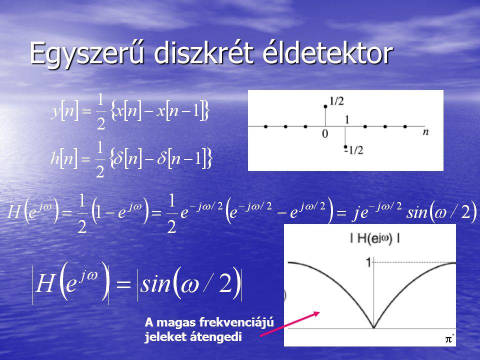 Egyszerű diszkrét éldetektor A magas frekvenciájú jeleket átengedi 